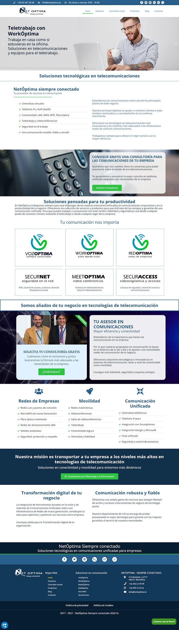 Creación de página web NetÓptima · Soluciones tecnológicas basadas en telefonía IP, centralitas virtuales y conectividad