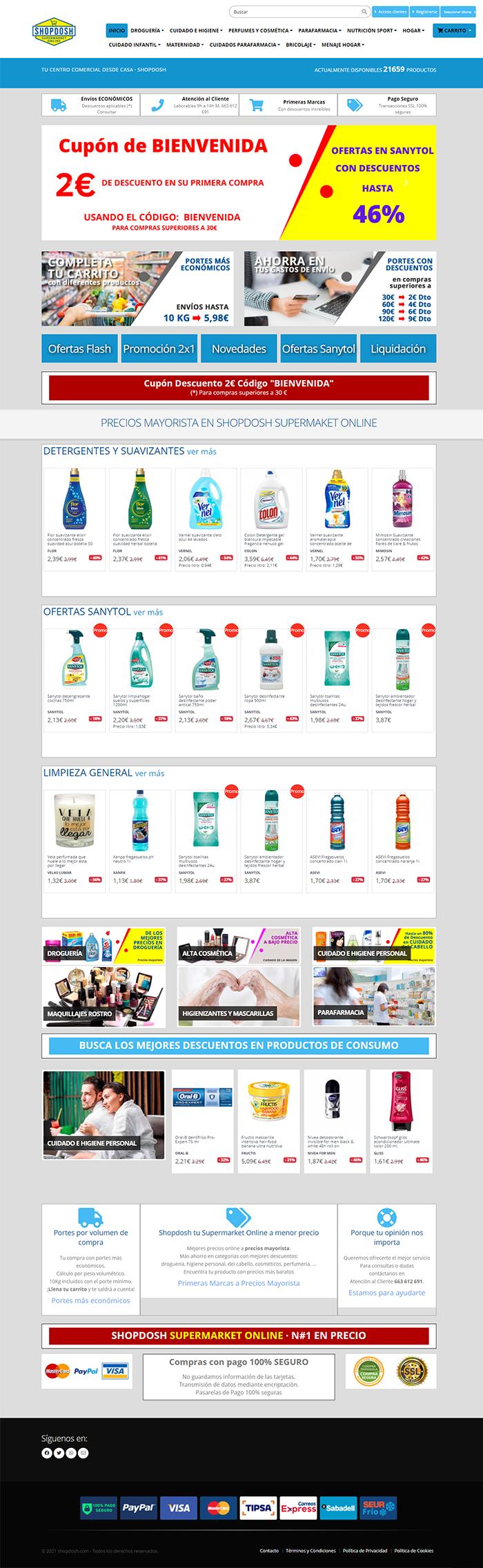 Actualización de la página web del eCommerce Shopdosh