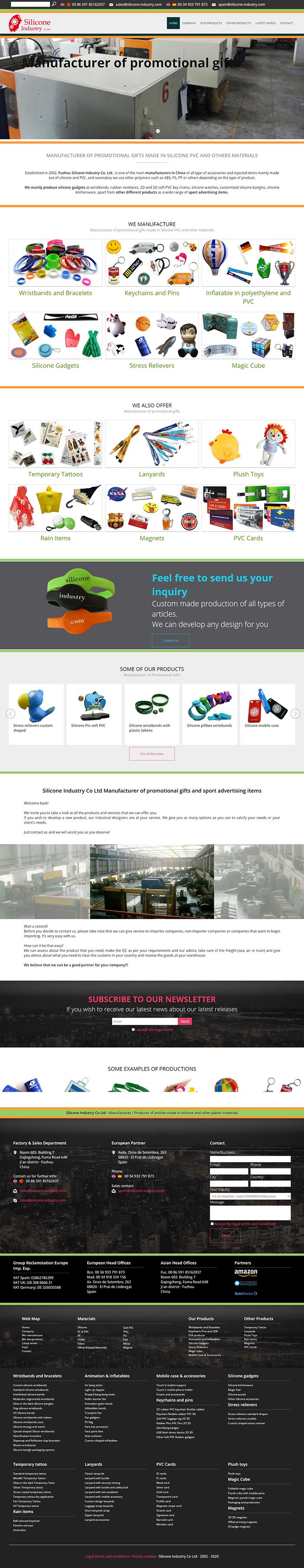 Creación de página web Silicone Indystry Co Ltd Fábrica china de productos promocionales para merchandising